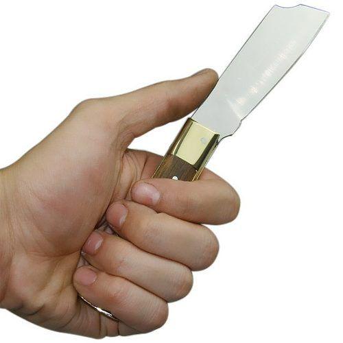 Canivete Cimo Inox Cabo Latão e Madeira c/ Bainha 320/7