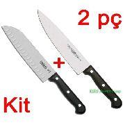 "Kit 2x1 Tramontina = Faca Santoku 7"" + Faca Chef 8"" Linha Ultracorte"