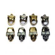 Caveira Metal Skull Bead Com ou Sem Olhos Luminescentes p/ Paracord Chaveiro Lanyard