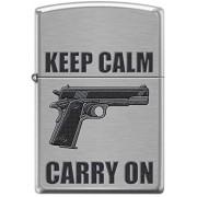Isqueiro Zippo Keep Calm Carry on Pistola Colt 1911Arma 200