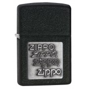 Isqueiro Zippo Preto Black Crackle Silver Zippo Logo