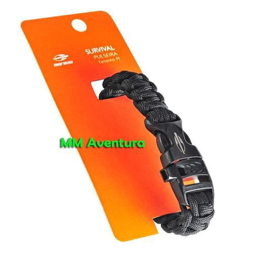 Pulseira Bracelete Paracord d Sobrevivência c/ Apito Survival M Mormaii