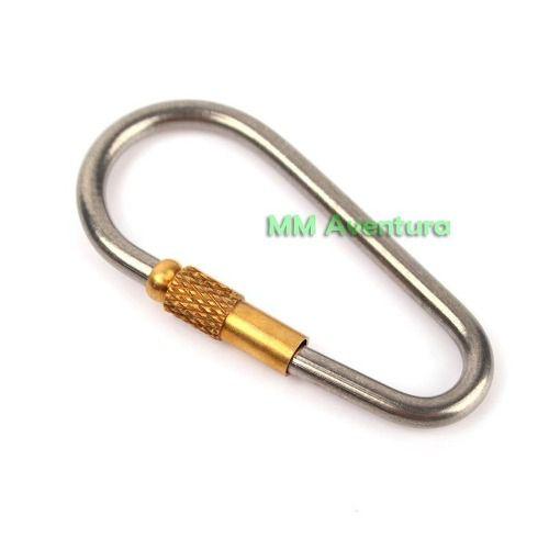 Clip Mosquetão Carabiner em Titânio Fecho de Rosca Chaveiro EDC