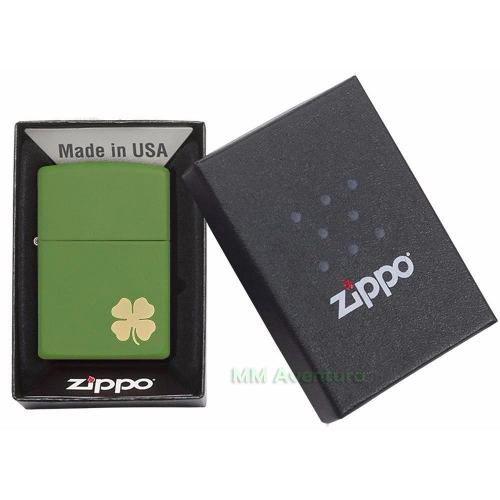 Isqueiro Zippo Original Trevo Quatro Folhas 4 Verde Dourado Shamrock cod. 21032