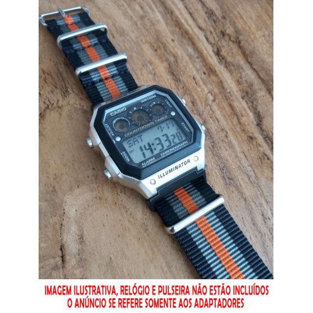 Adaptador Metálico de Pulseiras 22mm JaysAndKays p/ Casio AE1200 AE1300