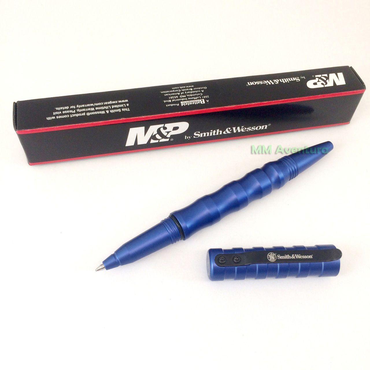 Caneta Smith & Wesson Black Tactical Pen Alumínio Preta Esferográfica p/ Defesa Pessoal