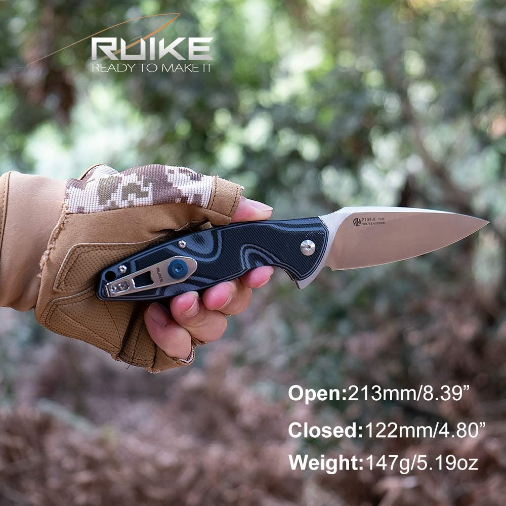Canivete Ruike P801-SF Stonewash e Azul c/ Clip Cabo em G-10 EDC