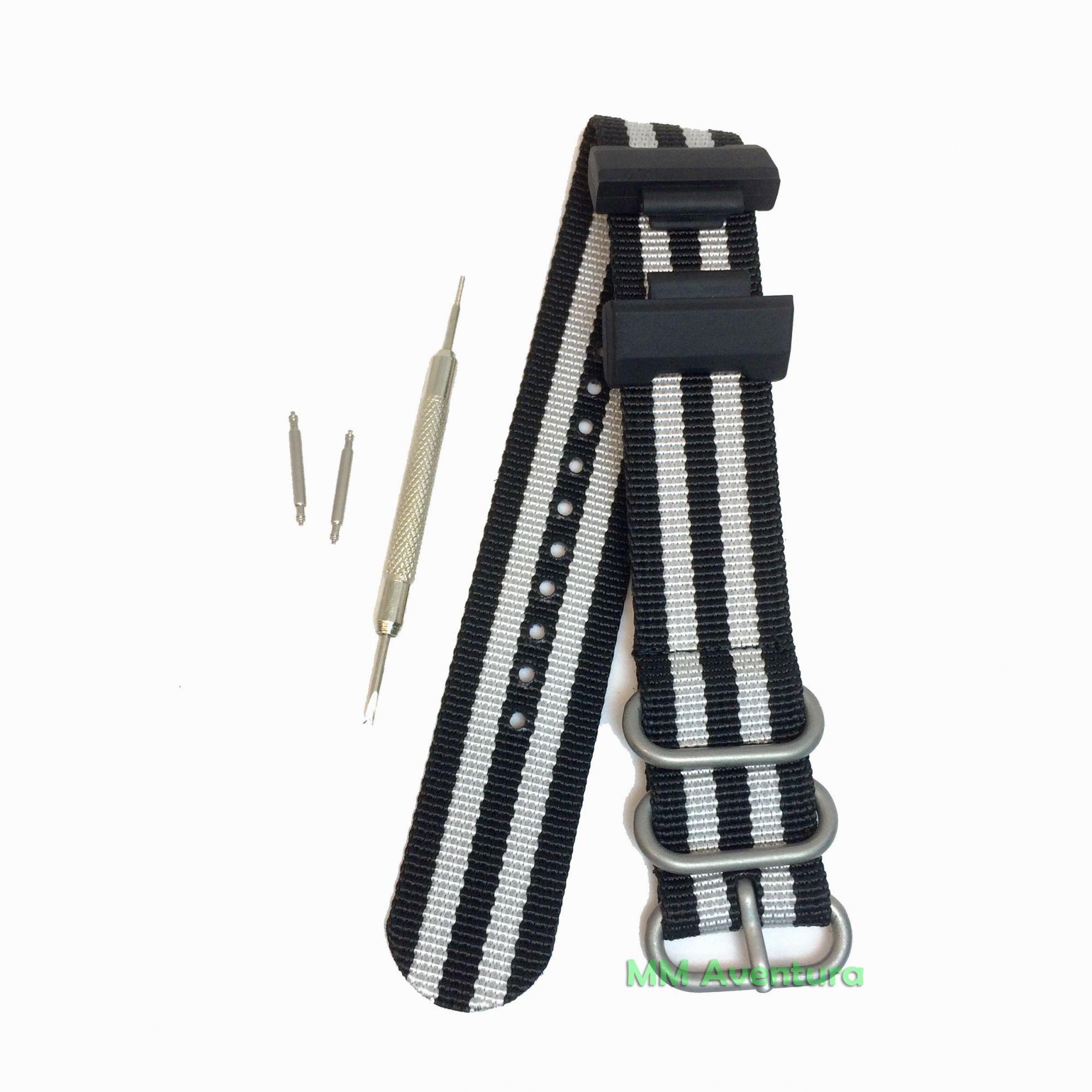 Pulseira de Nylon Estilo Zulu 24mm para G-Shock Bond Silver Stripe DW5600 Etc