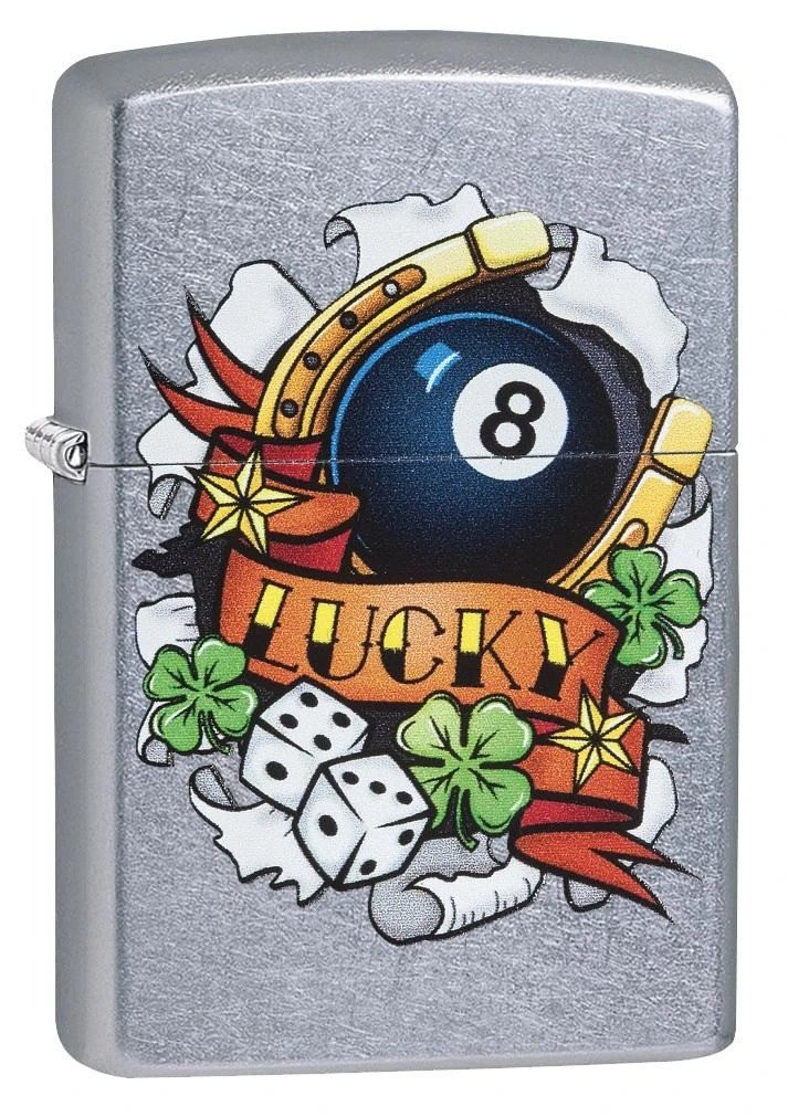 Isqueiro Zippo Luck Tatoo lucky 29604 Bola 8 Bilhar Trevo Dados Ferradura