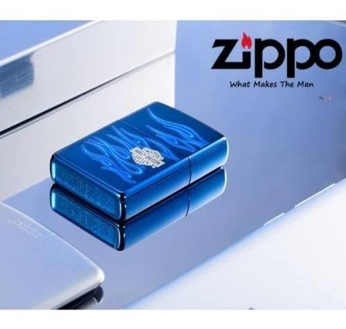 Isqueiro Zippo Original 20711 Harley Ghost Davidson Chamas Azul