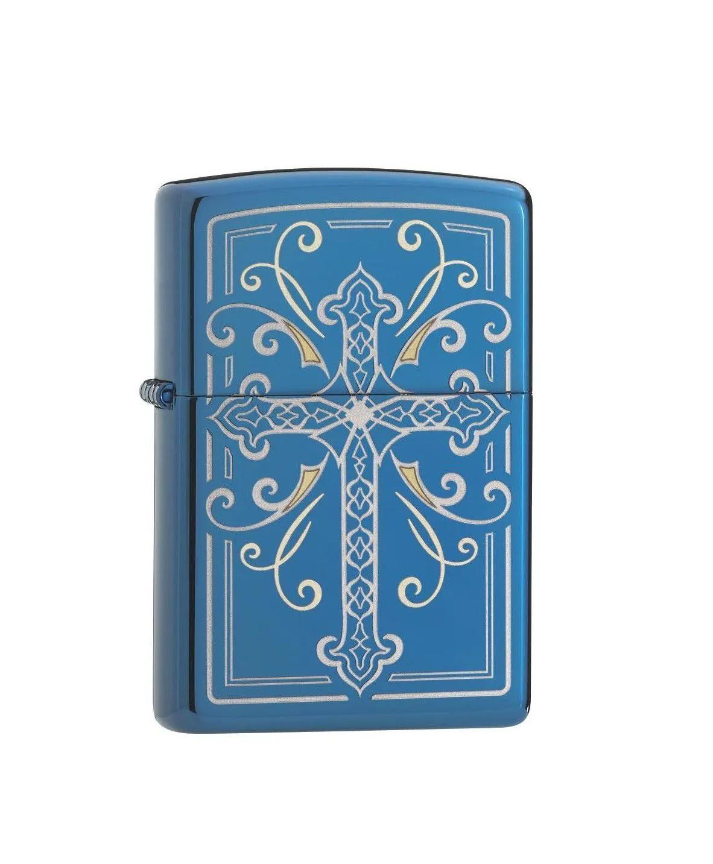 Isqueiro Zippo Original Cruz Crucifixo Elegant Cross Design Azul 29608