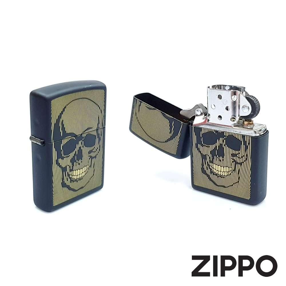 Isqueiro Zippo Skull Design 49216 Preto e Dourado Crânio Caveira