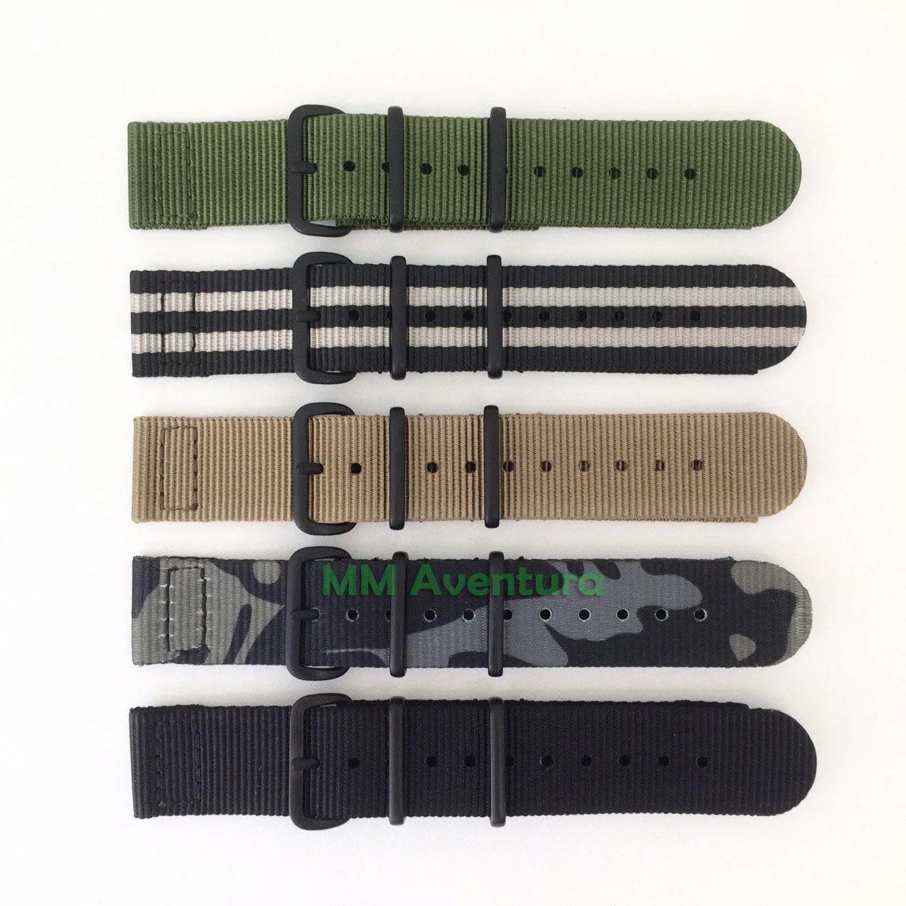 Pulseira Nylon 2pç Nato Zulu JaysAndKays p/ G-Shock 22mm - G9000 GW9000 GW9010