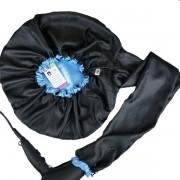 Difusora Touca de Cetim Exclusive - Anti Frizz - Preta com Azul Claro