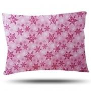 Fronha de Cetim - Flocos de Neve -Rosa - Anti Frizz