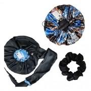Kit 1 Difusora Azul Claro - 1 Touca Floral Azul II e 1 Xuxinha Preta