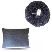 Kit 1 Touca e 1 Fronha de Cetim - Poá Azul