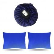 Kit 1 Touca e 2 Fronhas de Cetim - Azul Escuro