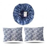 Kit 1 Touca e 2 Fronhas de Cetim - Flocos de Neve - Azul