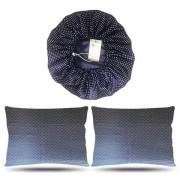 Kit 1 Touca e 2 Fronhas de Cetim - Poá Azul