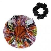 Kit 1 Touca Floral Ferrugem e 1 Xuxinha Preta
