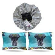 Kit 1 Touca Prata e 2 Fronhas Elefante