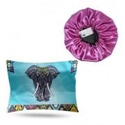 Kit 1 Touca Rosa Chiclete e 1 Fronha Elefante
