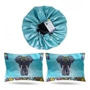 Kit 1 Touca Verde Água e 2 Fronhas Elefante