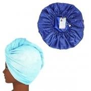 Kit 1 Turbante Azul Claro G e 1 Touca Poá Azul Royal
