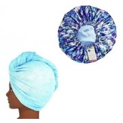 Kit 1 Turbante Azul Claro P e 1 Touca Floral Azul I