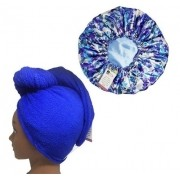 Kit 1 Turbante Azul Royal P e 1 Touca Floral Azul I