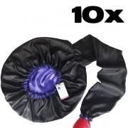 Kit com 10 Difusoras Toucas de Cetim - Preta com Roxo