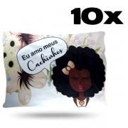 Kit com 10 Fronhas de Cetim - Amo Cachinhos I