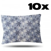 Kit com 10 Fronhas de Cetim - Flocos de Neve - Azul