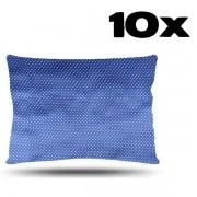 Kit com 10 Fronhas de Cetim - Poá Azul Royal