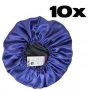 Kit com 10 Toucas de Cetim - Preto com Roxo