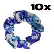 Kit com 10 Xuxinhas de Cetim - Floral Azul I