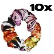 Kit com 10 Xuxinhas de Cetim - Floral Ferrugem