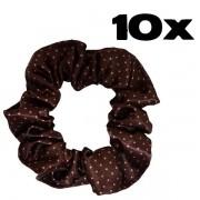 Kit com 10 Xuxinhas de Cetim - Marrom Poá