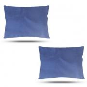 Kit com 2 Fronhas de Cetim - Azul Marinho