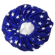Touca de Cetim Dupla Face Azul com Estrelas - Viés e Regulagem