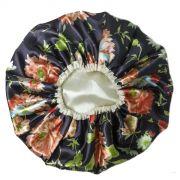 Touca de Cetim Dupla Face Flores com fundo Arroxeado - Viés