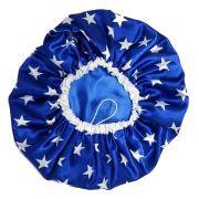 Touca de Cetim Forrada Azul com Estrelas