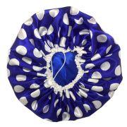 Touca de Cetim Forrada Azul de Poá - Ajustável
