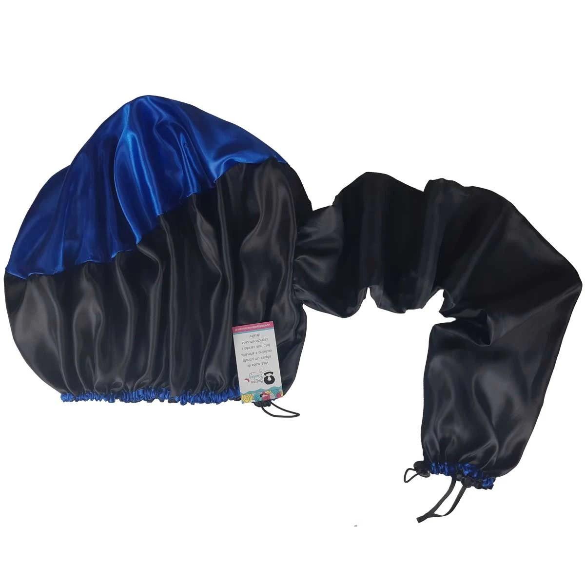 Difusora Touca de Cetim Exclusive - Anti Frizz - Preta com Azul