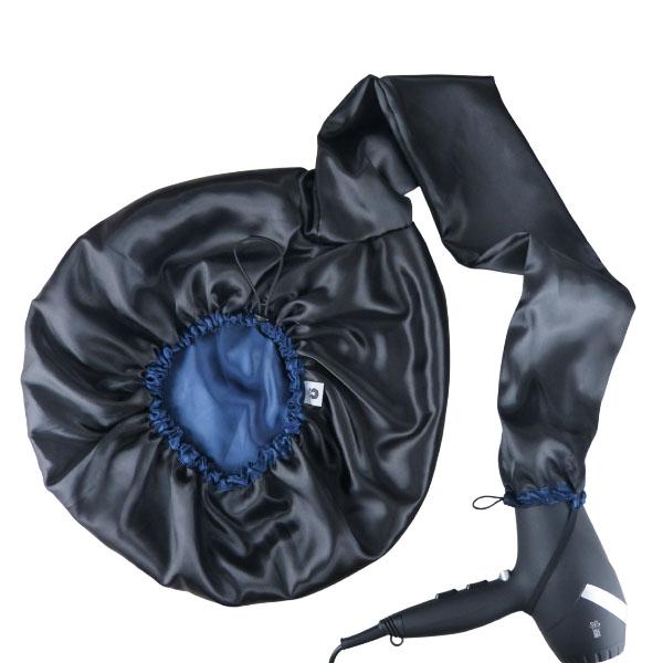 Difusora Touca de Cetim Exclusive - Anti Frizz - Preta com Azul Marinho
