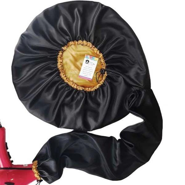 Difusora Touca de Cetim Exclusive - Anti Frizz - Preta com Dourado