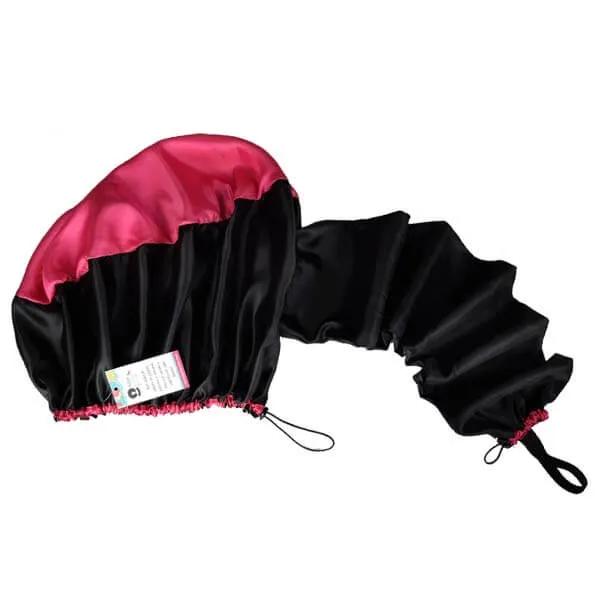 Difusora Touca de Cetim Exclusive - Anti Frizz - Preta com Pink