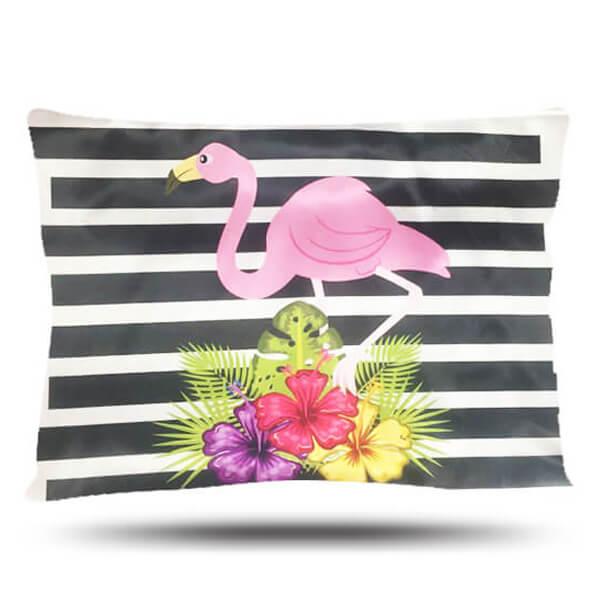 Fronha de Cetim - Flamingo com Listras - Anti Frizz