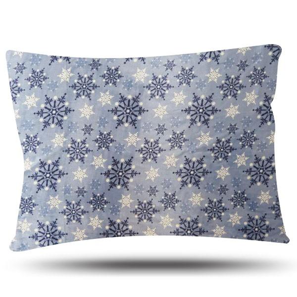 Fronha de Cetim - Flocos de Neve -Azul - Anti Frizz